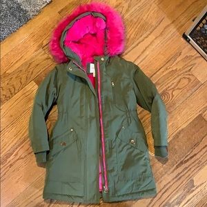 Cat and Jack army green hot pink coat size 4/5 XS